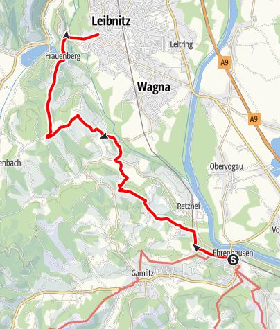 Karte / Etappe 25 Vom Gletscher zum Wein Südroute Ehrenhausen - Leibnitz