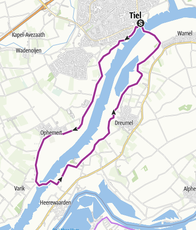 Map / NL > Tiel-Varik-Heerewaarden-Wamel-Tiel 20 km