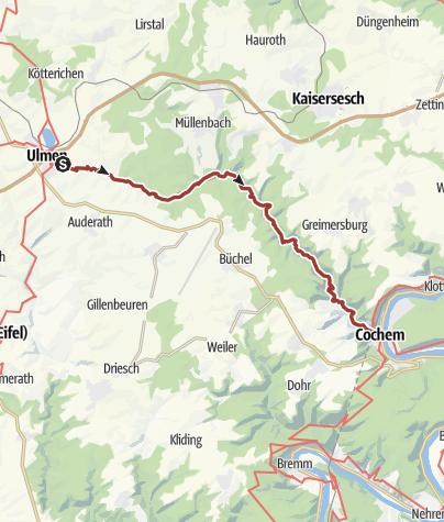 """Map / Erlebnisweg """"Tal der wilden Endert"""" zwischen Kloster Martental und Cochem"""
