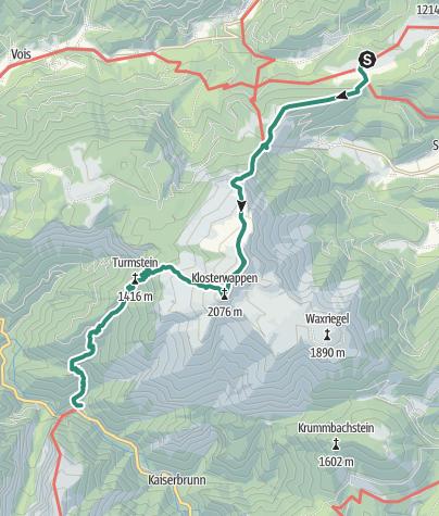 Map / 01 Nordalpenweg, E04: Mamauwiese - Weichtalhaus