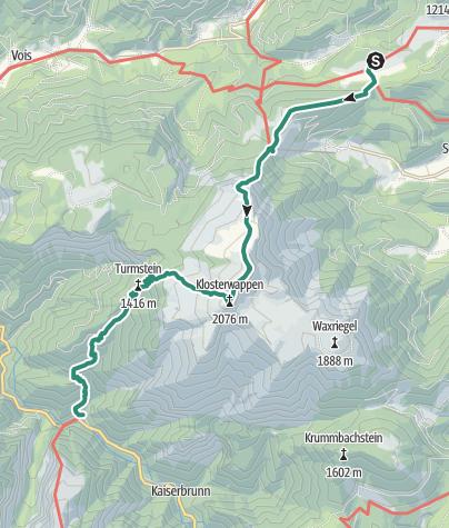 Cartina / 01 Nordalpenweg, E04: Mamauwiese - Weichtalhaus