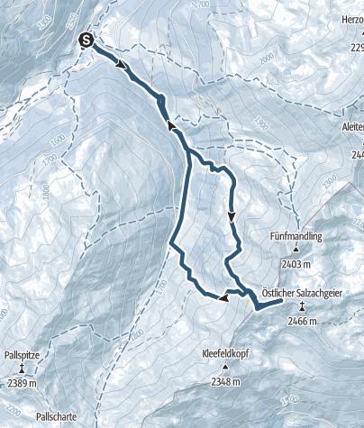 Karte / Westlicher Salzachgeier (2469m) aus dem langen Grund