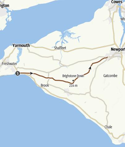 Map / Carisbrooke to Freshwater
