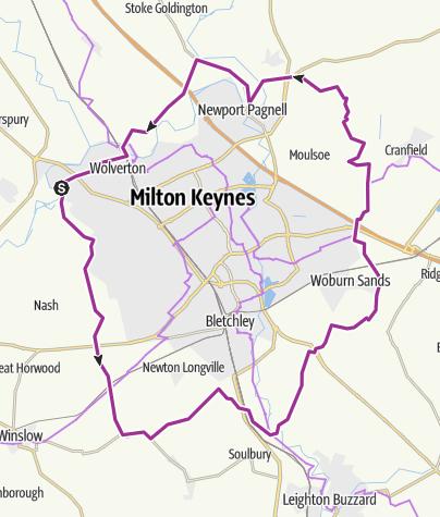 Map / 40 miles circuiting the perimeter of Milton Keynes