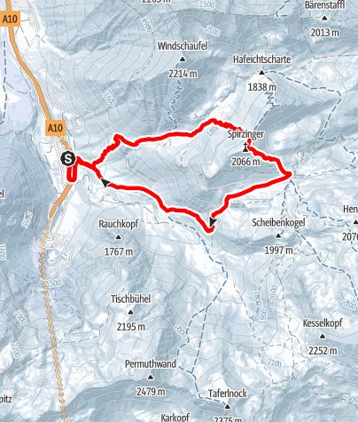 Karte / Spirzinger (2.066 m) von der Tauernalm