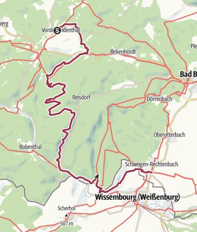 Karte / Kapellen-Pilgerweg Etappe: Vorderweidenthal - Schweigen-Rechtenbach
