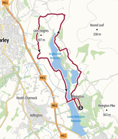 Map / rivington lakes and white coppice