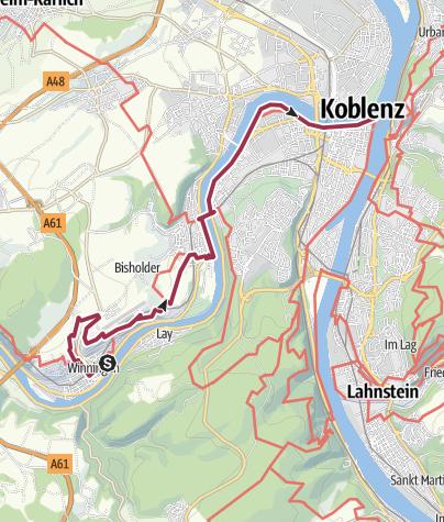 Map / Moselsteig Etappe 24: Winningen – Koblenz