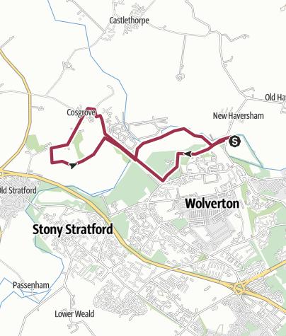 Map / Wolverton, Cosgrove loop, 5 Jan 13