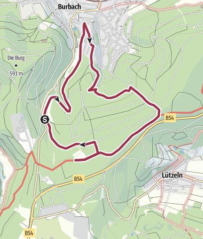 Karte / Gambach und Hirtenwiese - Wacholderheide südlich Burbach