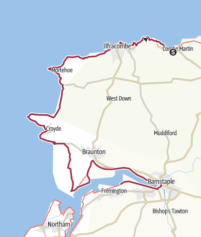 Map / SWCP Day 02, 26 July, Combe Martin to Barnstaple