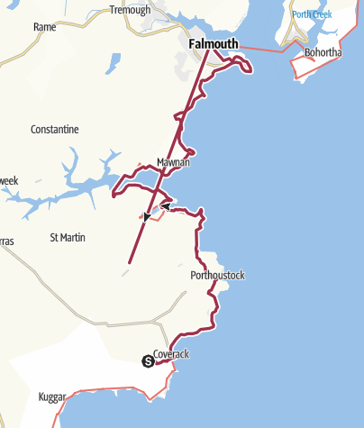 Map / SWCP Day 11a, 4 August, Coverack to Falmouth