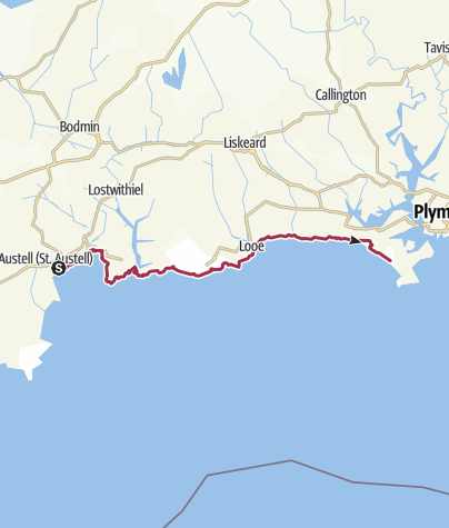 Map / SWCP Day 13, 6 August - Charlestown to Tregantle