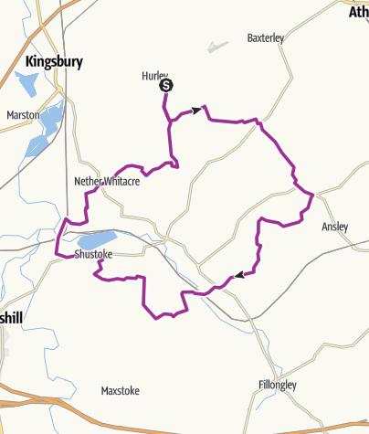 Map / Quiet  Lanes via Daw Mill. 16 Oct 2012 21:11:28