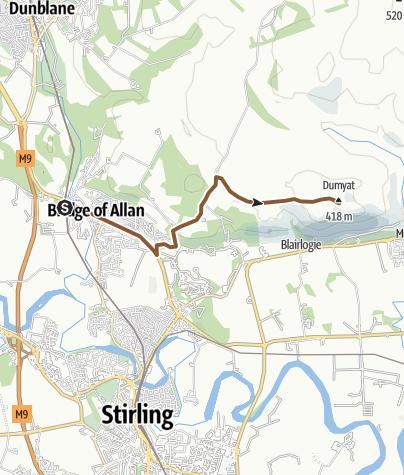 Map / Dumyat from bridge of allan railway