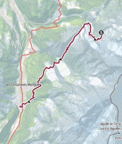 Map / Le Nid d'Aigle to Les Contamines