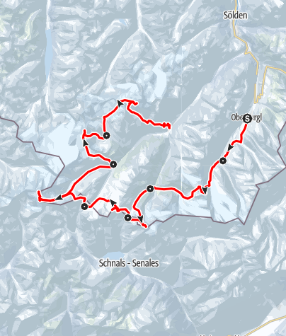 "Karte / Venter Skirunde (""Ötztaler Haute Route"") im Uhrzeigersinn"