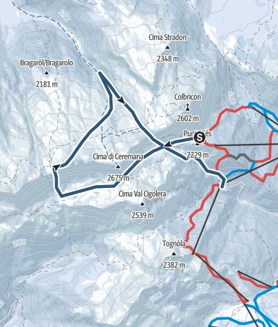 Karte / Anello delle Cime di Bragarolo (Dislivello 1100m – Difficoltà BSA)