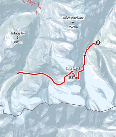 Karte / Venter Skirunde im UZS, Etappe 2: Langtalereckhütte - Schalfkogel - Martin-Busch-Hütte