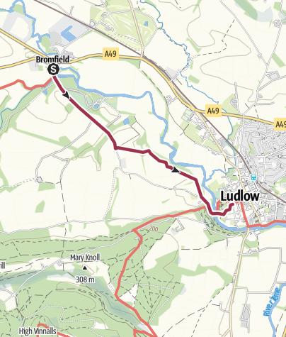 Map / Bromfield to Ludlow