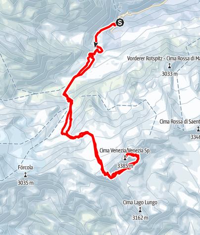 Karte / Köllkuppe (3.330 m) Skitour von Zufallhütte mit Variante Veneziaspitzen