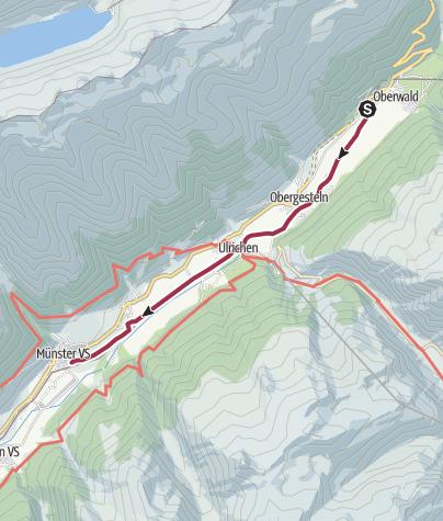 Carte / Route Oberwald – Münster