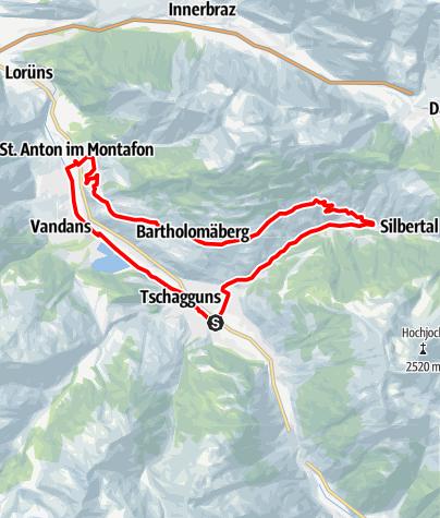 Karte / Bartholomäberg - Silbertal Runde (Mit dem Rennrad auf dem Sonnenbalkon Bartholomäberg)
