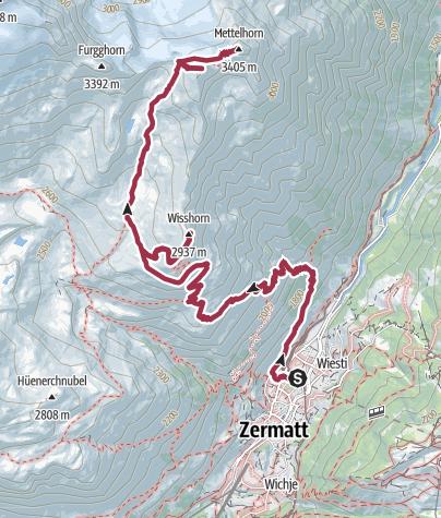 Mapa / Ruta Alte Gasse - Wishorn-Metelhorn