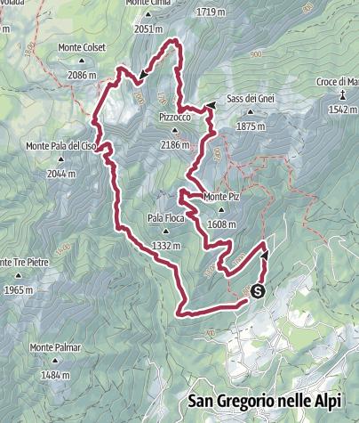 Mapa / Ruta Monte Piz - Pizzoco (Belluno - Italia)
