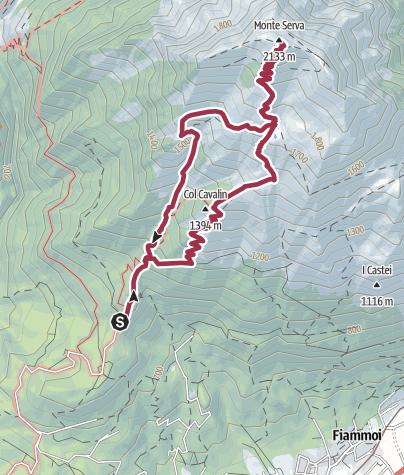 Mapa / Ruta Monte Serva (Dolomitas-Italia)
