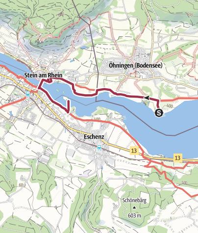 Karte / Rund um das Bodenseeende - Wanderung am westlichen Bodensee von Öhningen (D) zur Insel Werd (CH) und zurück