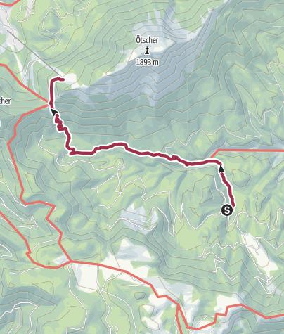 Karte / Familientour: Der Ötscher - 2. Etappe: Schutzhaus Vorderötscher (888 m) - Ötscher Schutzhaus (1418 m)