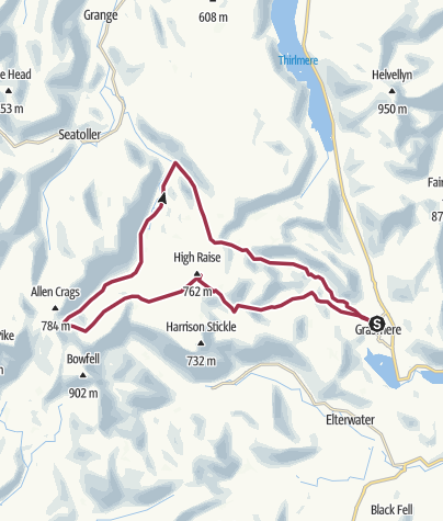 Map / Grasmere to Langstrath Valley and Return