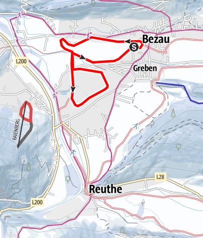 Karte / Bezau | Langlaufloipe Ach und Unterdorf