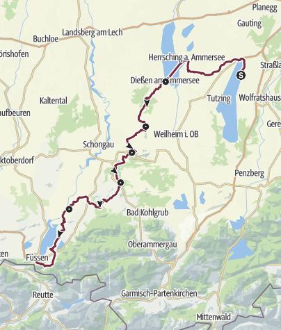 Karte / König-Ludwig-Weg Gesamttour Hauptroute