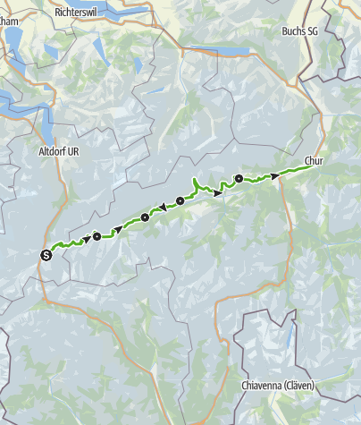 Karte / 85 Senda Sursilvana (5 Etappen)