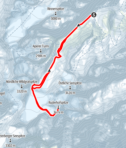 Karte / Ruderhofspitze (3.473 m) über Alpeiner Ferner von Franz-Senn-Hütte