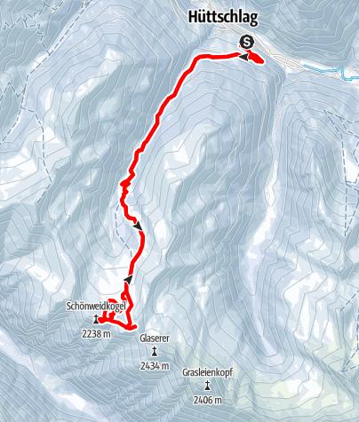 Karte / Schönweidkogel 2236m und Heidentempel 2314m