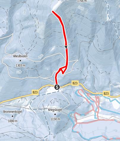 Karte / Terzer Göller vom Lahnsattel, Abfahrt durch das Südkar