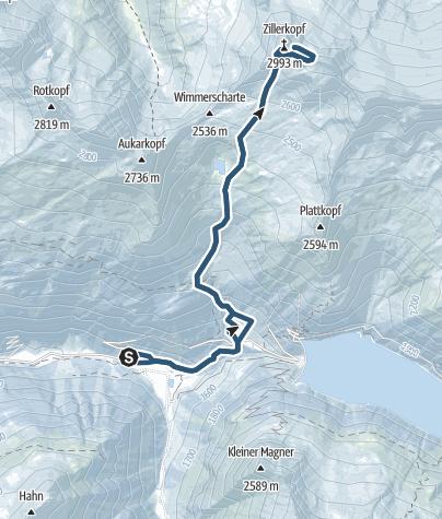 Karte / Zillerkopf – eine grandiose Firntour in den Zillertaler Alpen
