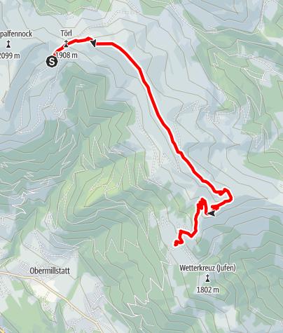 Karte / Familientour: Millstätter Höhensteig - 3. Etappe: Millstätter Hütte (1876 m) - Lammersdorfer Hütte (1644 m)