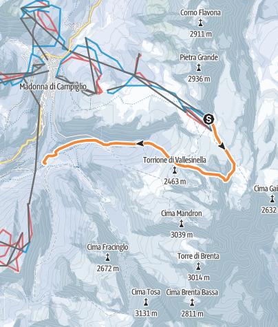 Map / Bocchetta del Campaniletto dei Camosci (Dislivello in salita 380m – Discesa 1600m - Difficoltà BS)