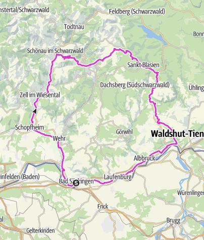 """Karte / Bad Säckingen: Rennrad-Tour """"Durch den wilden Südschwarzwald"""""""