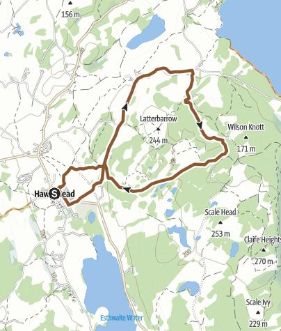 Map / Hawkeshead and around Latterbarrow