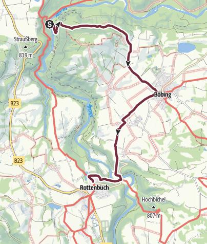 Karte / Alternativstrecke zur Umgehung der Ammerschlucht