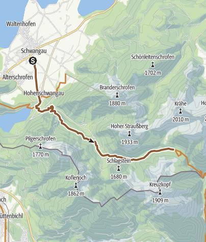 Karte / Zur Jägerhütte von Hohenschwangau