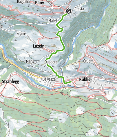 Map / Durch die alten Gassen von Pany nach Küblis