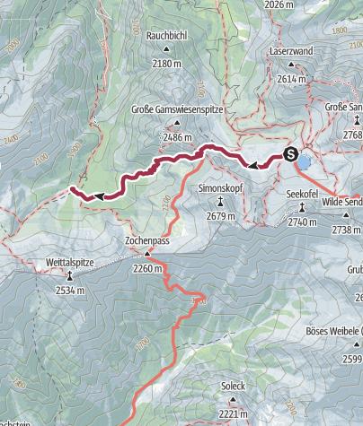 Karte / Familientour: Lienzer Dolomiten - 3. Etappe: Karlsbader Hütte (2260 m) - Kerschbaumer Alm (1902 m)