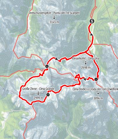 Karte / Familientour: Rund um die Drei Zinnen