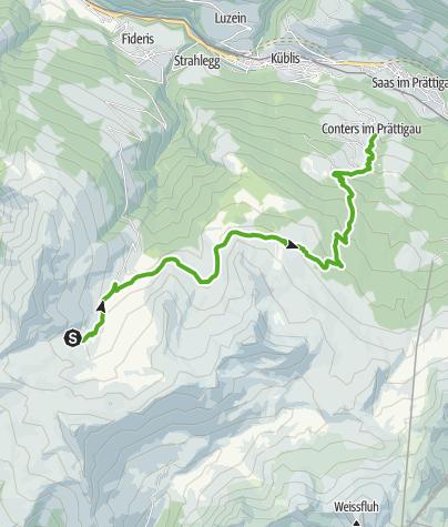 Map / Vom Heuberg hinunter nach Conters